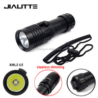 Jialitte F122 Hot Military Aluminum Rechargeable Zoom XML2 U2 LED Diving Flashlight Underwater 20M Diving Torch Stepless Dimming