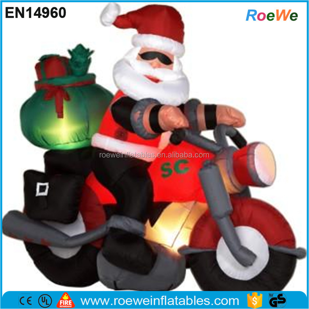 Santa On Motorcycle Christmas Inflatable