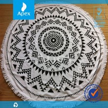 100% Cotton Reactive Printing Round beach Towel with Tassels by manufactures