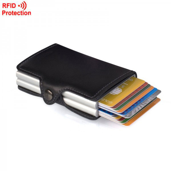 Brand Double Mini Wallet with Automatic Slide Card Holder Credit Card Case Card Organizer Rfid Card Protector Men Wallets Women