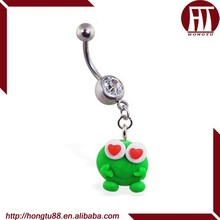 HT Navel Ring with Dangling Clay Love Frog Belly Piercing Jewelry