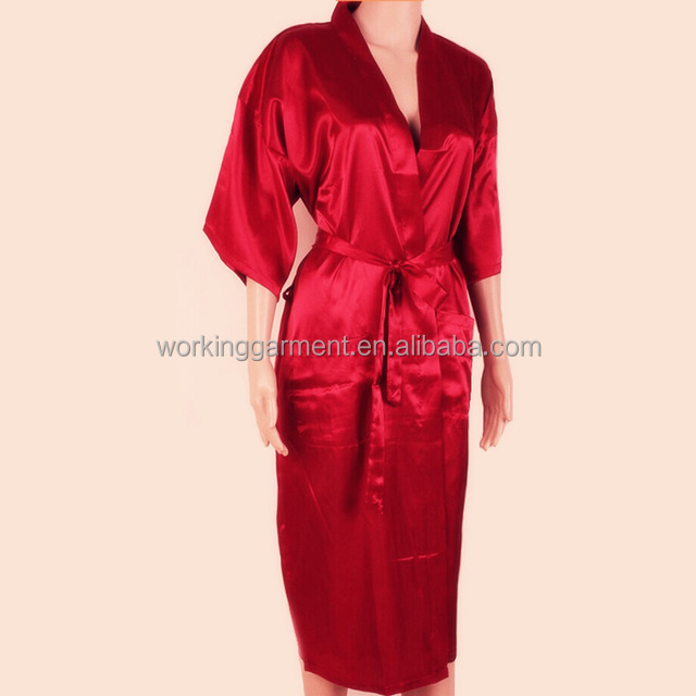 Hot Sale Red Chinese Men Rayon Long Robe Kimono Bath Gown Summer Casual Sleepwear Solid Color Pajamas