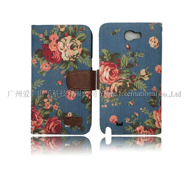 Korea style flower denim leather case for Pantech SKY VEGA IM-A770K with card slot