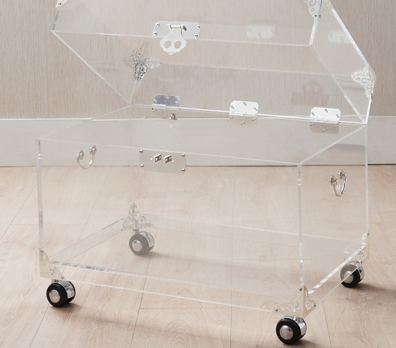 Custom size acrylic trunk-rustic brass with wheels, perspex bookcase, lucite side table