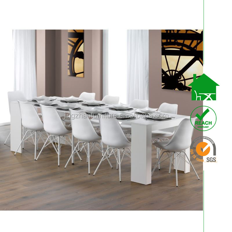 DT-3079 White high gloss expandable dining table