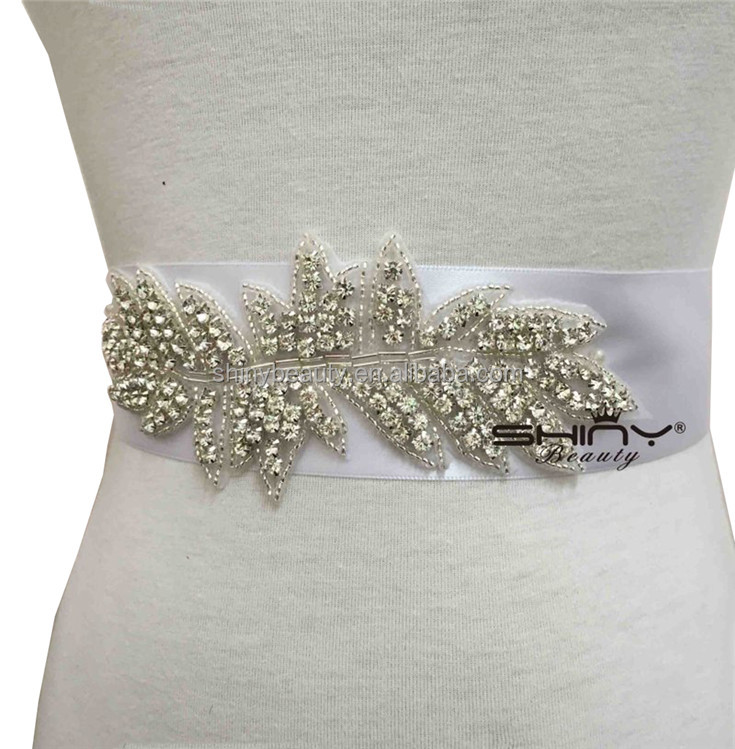RA032 Satin Sash with Linear Beaded Design Rhinestones Belt For Wedding Bridal Bridesmaid Evening Dress
