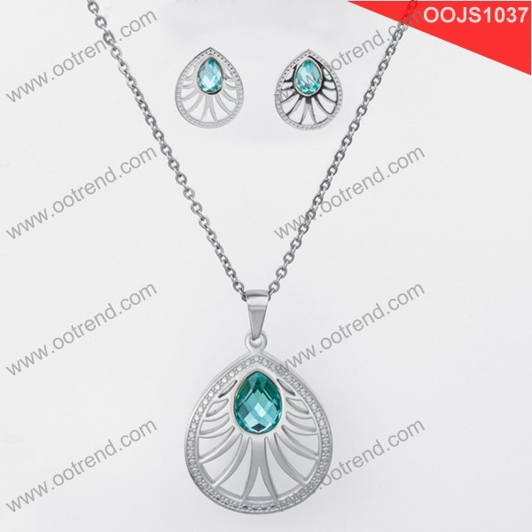 Blue Crystal hollow design stainless steel jewelry set 2017