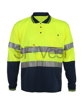 Wholesale high visibility safety reflective long sleeve workwear polo shirt