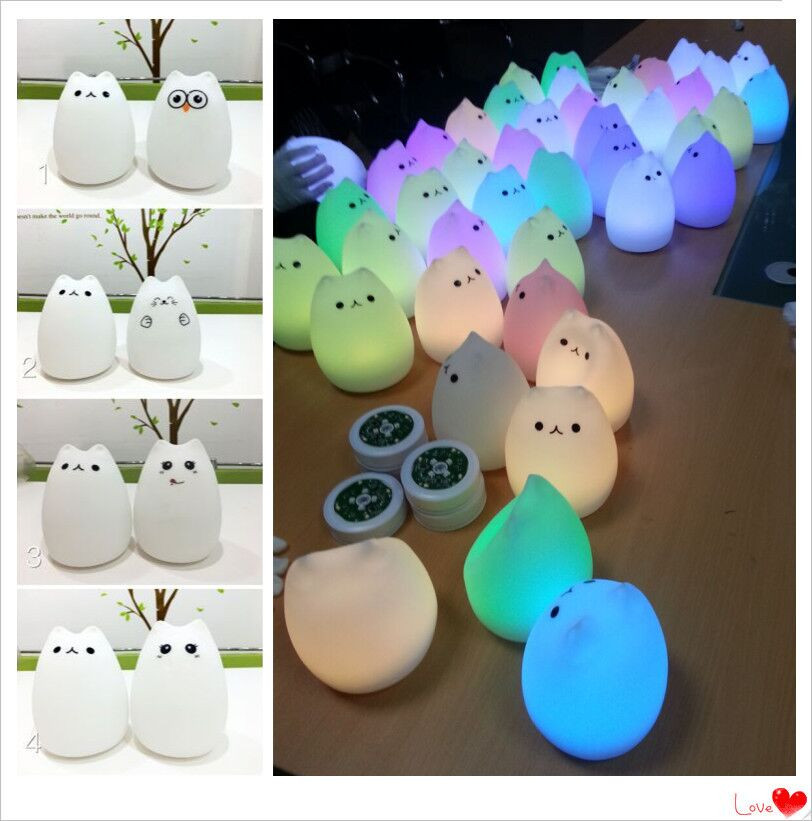 High Quality Cute Silicone kids child Cheap color changing Night Light