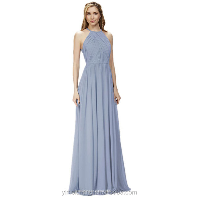 Pure color chiffon charming long evening wear full length bridesmaid dress