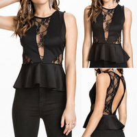 Women Sexy O-Neck Sleeveless Vest Lace Patchwork Peplum Casual Club Tops peplum blouse SV017461