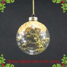 Clear hollow glass ball with gold ball for Christmas decoration
