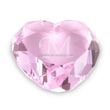 Light Pink Heart Shaped Crystal Paperweight