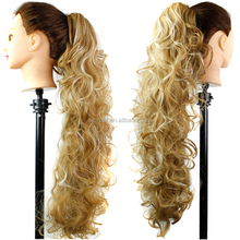 New Fashion Long Lady Women Curly Wavy Claw Clip Ponytail Hairpiece blonde Hair Extension