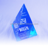 Wholesale clear 3d laser engraving crystal glass pyramid paperweight