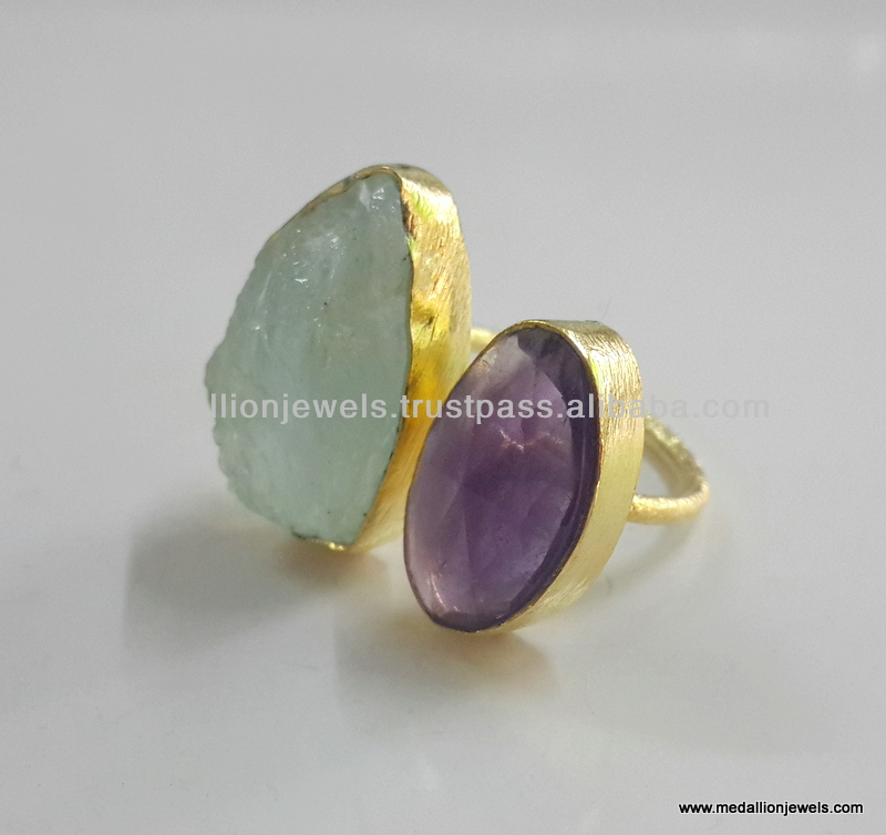 Amethyst Facet & Aquamarine Gemstones Vermeil Jewelry, Raw Gemstones 18 kt Gold Plated Jewelry, 925 Sterling Silver Jewelry
