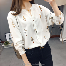 2017 Spring Lady Chiffon Shirt Long-sleeved V-neck Shirt