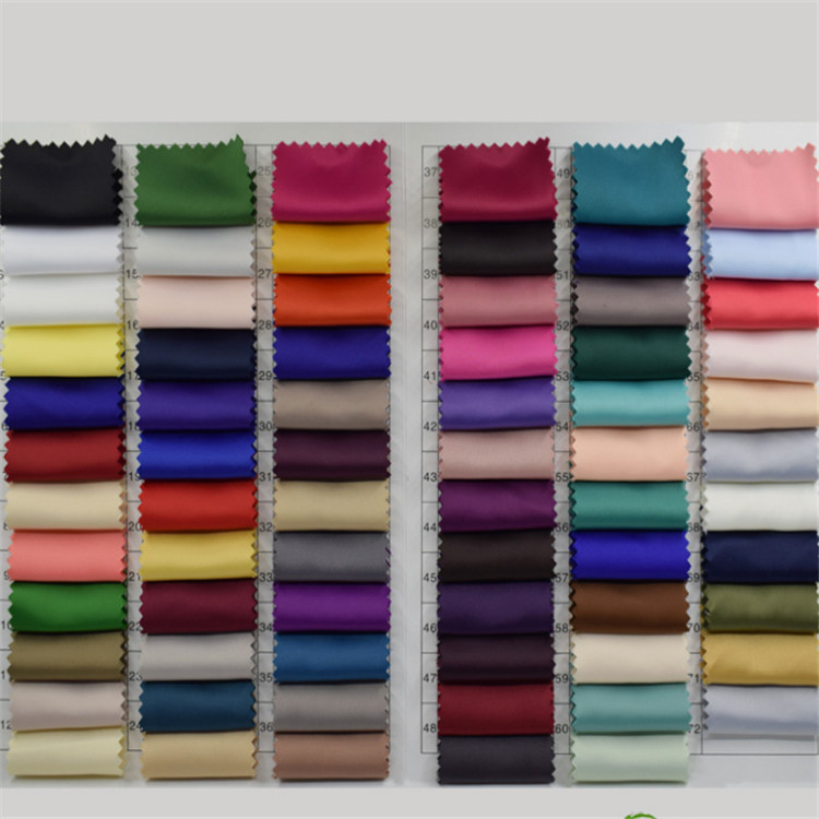 2018 popular Light Weight 100% Polyester Twist Charmeuse Satin plain dyed Fabric