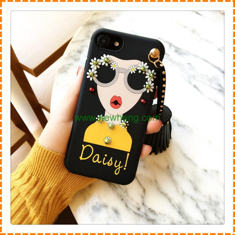 Luxury Beauty Girls Rubber Tassel TPU Silicon skin leather case for Iphone 7 plus