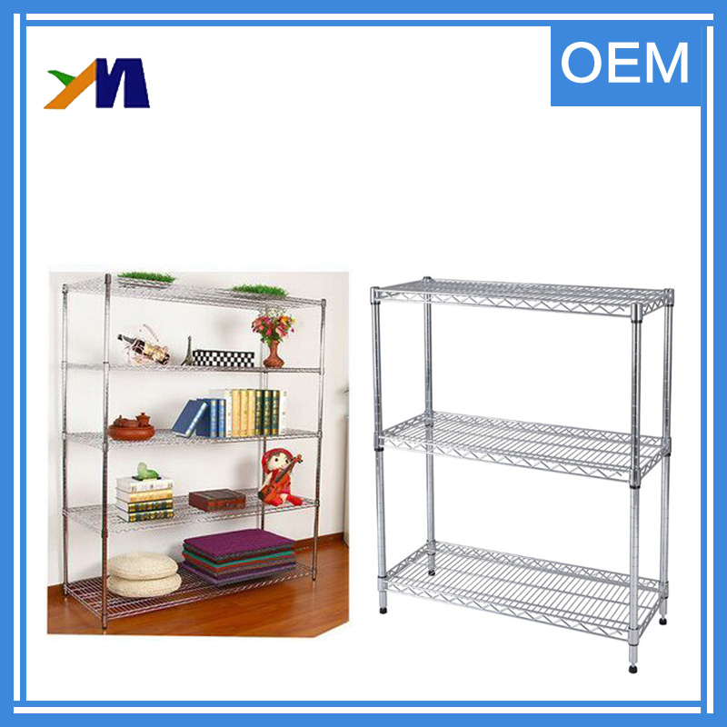 Commerical 5 Tier Supermarket Shelf Adjustable Steel Wire Book Shelf