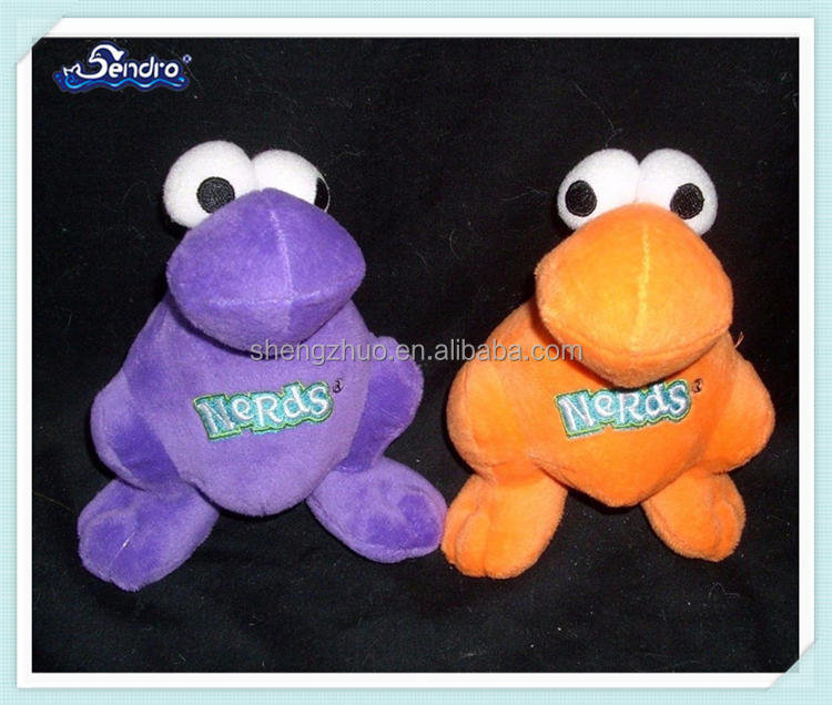 King purple orange soft cartoon dog pet plush frog toy with logo on chest