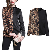 2019 Guangzhou New Arrival High Quality New Design Sexy Women Slim Turn-down Collar Long Sleeve Patchwork Leopard Printed Blouse