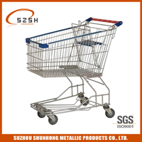 Asia style 125 Litter Zinc and coating Chrome shopping cart, trolley