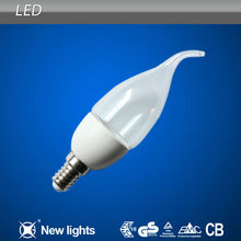 Energy Saving Plastic Parts E27 led light candle bulb cold white with Tail