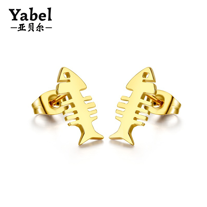 fashion jewelry gold plated stainless steel fish bone stud earrings