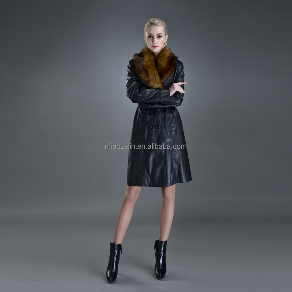 Hot sale women long warm casual ladies PU leather coat
