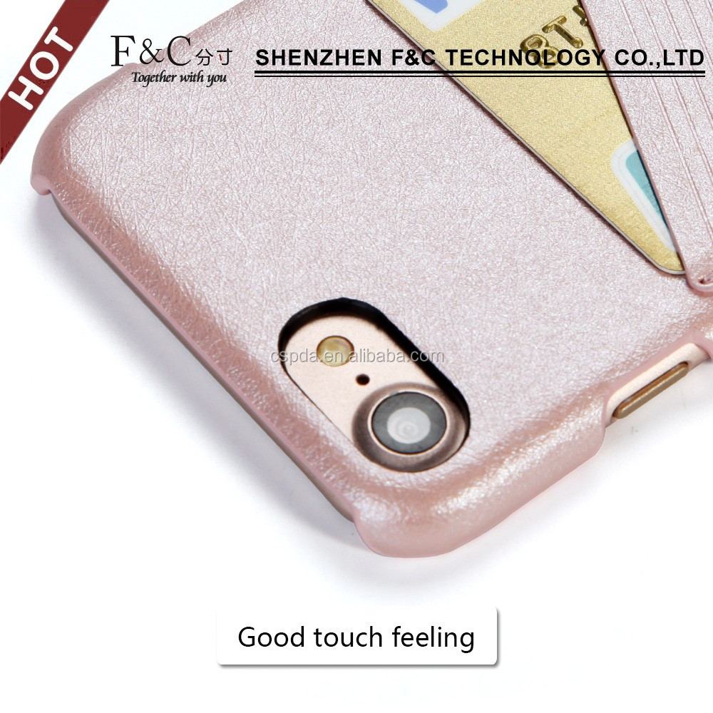 Slim PU phone cover wallet back hard case with credic card slots for iphone 7