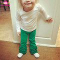 Solid Green Toddlers Baby Girls And Boys Triple Ruffle Legging Infant Soft Cotton Wholesale Christmas Icing Pants