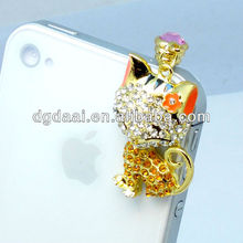 Mobile phone charm plug crystal dust plug cat dustproof plug