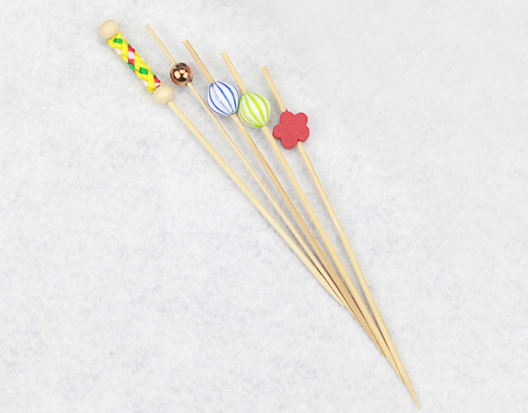 Party Decorative Bamboo Food Ball Pick, christmas Food decoration Picks, party fruit cocktail decorative picks