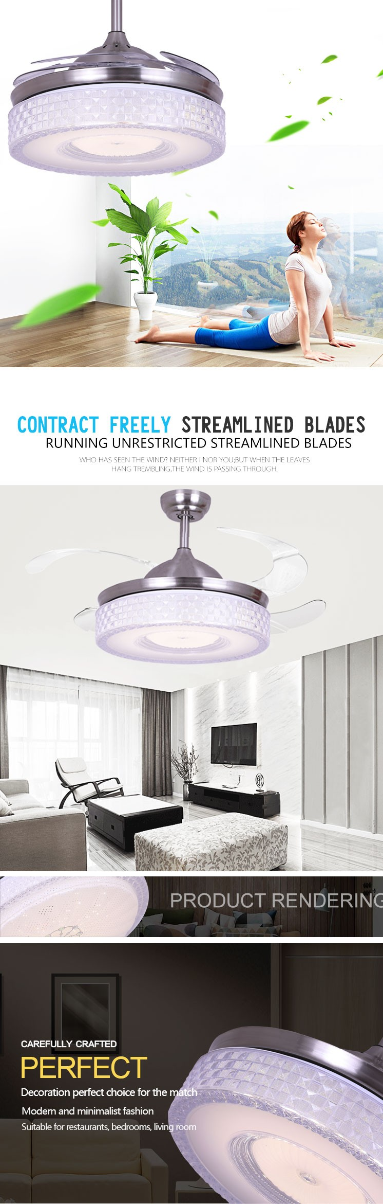 Living Room 42'' Modern Decorative Remote Control Bladeless Fan With Led Lamp