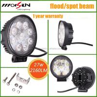4Inch 27Watt Led Work Light, 9LED Round 27Watt LED Work Lamp For Truck, 4WD, Atv, Utv, Polaris Ranger