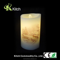 Water fountain flameless wax candle led light