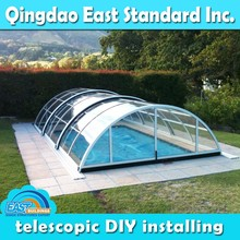 East Standard outdoor above ground swimming pool retractable cover roof