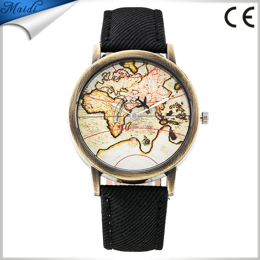 Famous Brand Vintage Copper Map Casual Quartz Watch Women Jean Fabric Lether Strap Dress Watches Map Plane LW051