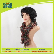 high quality mix colors ruffle boa fashion knit scarf for lady hand knitted sashay ruffled scarf