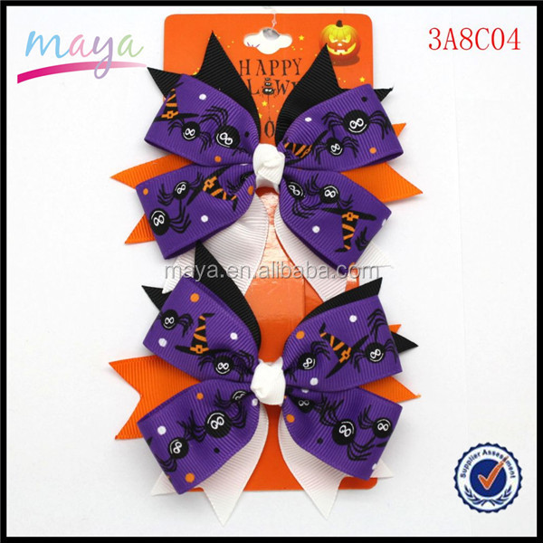 2015 Hot Sale Spider Grosgrain Ribbon Stacked Bows Girl Kids Hallowmas Hair Bows Hairgrips