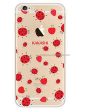 Transparent ladybird cute design Clear TPU mobile phone case for iPhone 6 6S