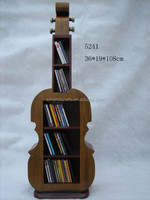 Guitar shape CD rack, DVD display rack, special unique wooden storage Cabinet