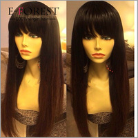 Wholesale Silky Straight Virgin Brazilian Hair Full Lace Natural Girls Hair Wig With Bangs