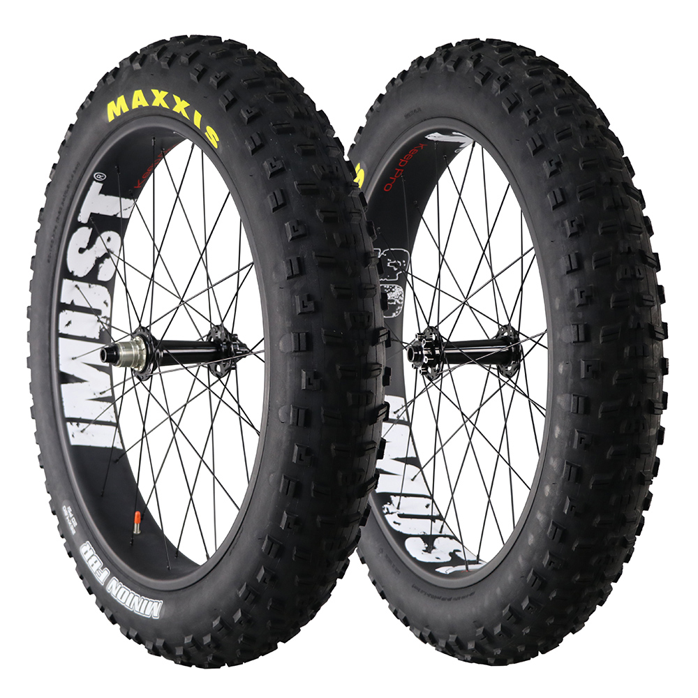carbon fat bike wheelset 90mm clincher tubeless ready ,26er fat bike carbon wheelset with Maxx tire 26* 4.8mm