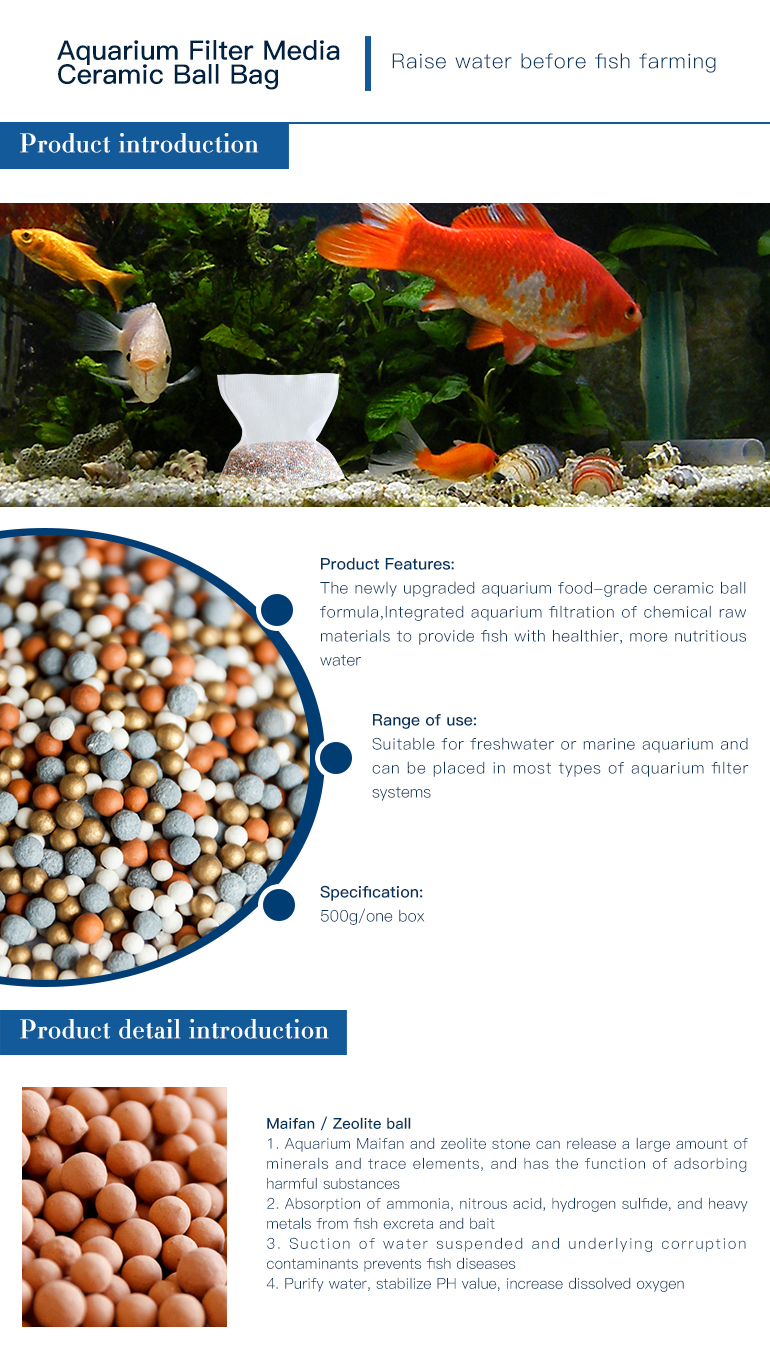 china product aquarium filter media ceramic ball bag maifan stone for fish tank freshwater aquarium fish water treatment