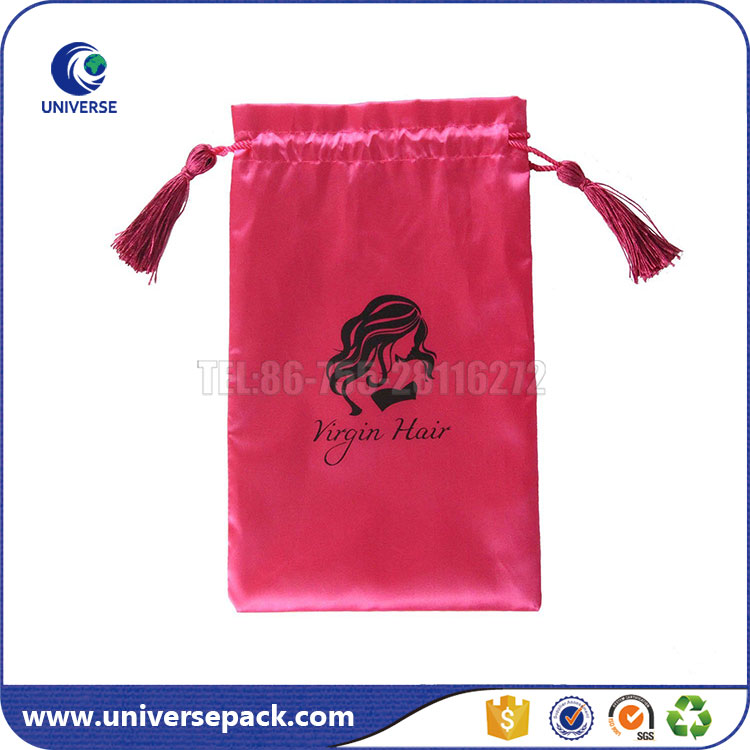 Custom hair extension packaging drawstring satin bag with tassels