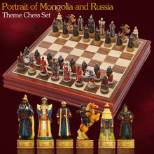 High quality Customized resin chessmen,chess set, with wooden chess board