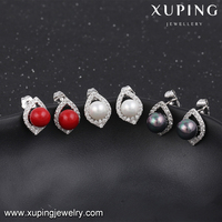 91596 Xuping alibaba faux bijoux pearl shape stud earrings jewelry