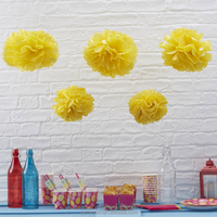 Yellow Tissue Paper Pom Poms Hanging Flower Ball Bulk Wholesale